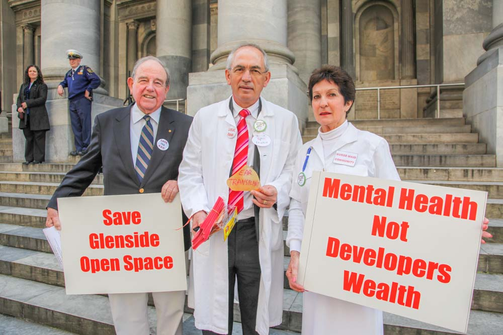 Editorial Photography. Save Glenside. Mental Health not developers wealth.